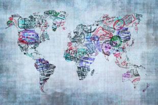 Weltkarte aus Passstempel